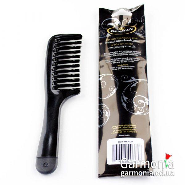 Denman D24 Detangling comb. Гребень для распутывания волос, чёрный.