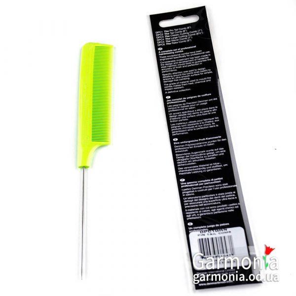 Denman DPC1GRN - Lime green precision pin tail comb.Гребень с острым железным хвостом, зеленый.